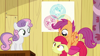 Scootaloo jumps onto Apple Bloom S6E4