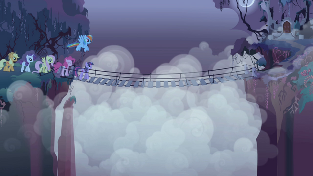File:Mane 6 make their way across the bridge S1E02.png