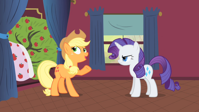 File:Applejack and Rarity talking next to Bloomberg S1E21.png