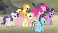 Mane Six walking to the vault S5E1