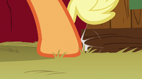 Applejack's hoof knocks against some crates S6E23