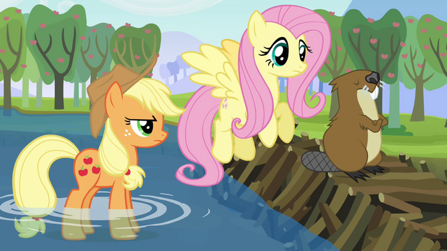 File:Applejack, Fluttershy, and one angry beaver S03E10.png