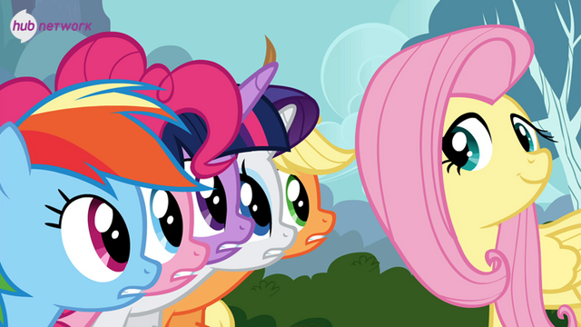 File:Fluttershy with her friends Twitter promotional.png