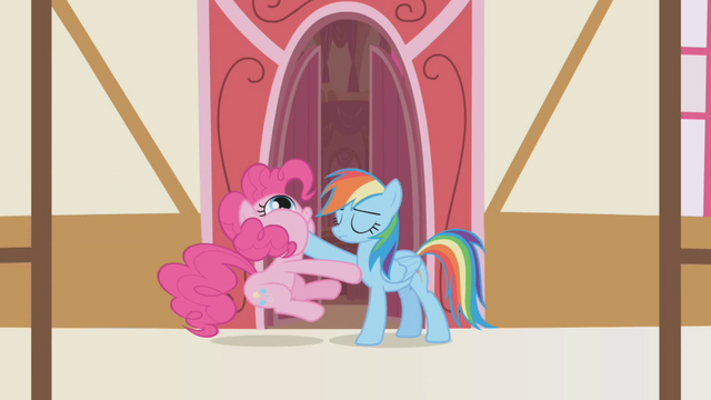 File:Rainbow Dash sticks hoof in Pinkie's mouth S1E5.png