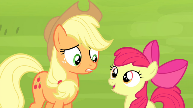 "File:Apple Bloom ""break the Equestria high divin' record"" S4E20.png"