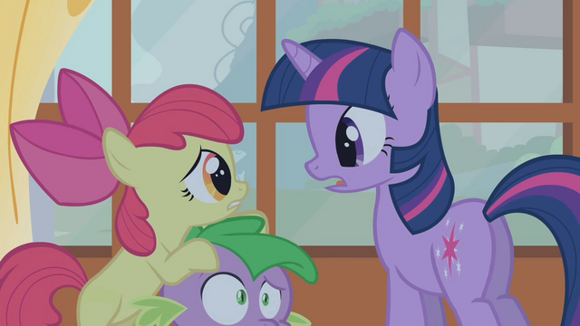 File:Apple Bloom on Spike's head S1E09.png