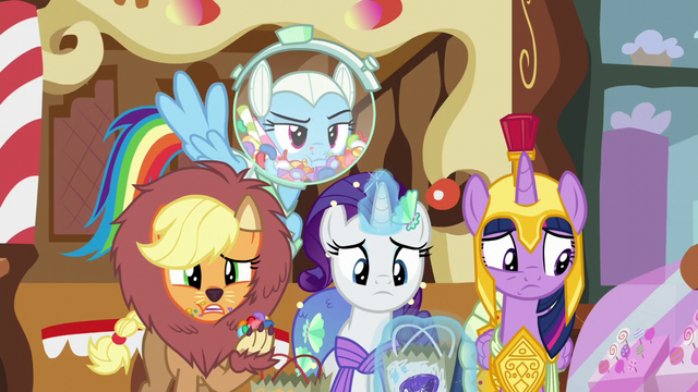 File:Main ponies look at Fluttershy speechless S5E21.png