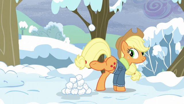 File:Applejack kicks up a snowball S5E5.png