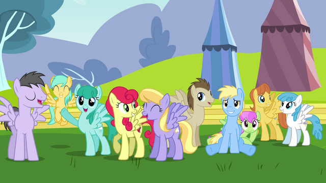 File:Pegasi marveling at Rainbow Dash S2E22.png