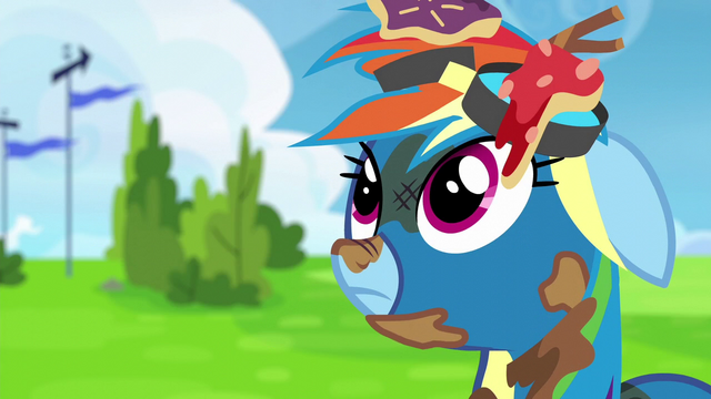 File:Rainbow Dash covered in trash S6E7.png