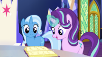 Trixie and Starlight looking at a book S7E2