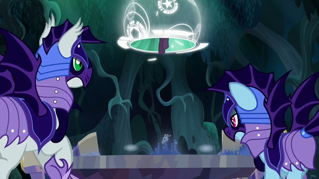 File:Guards try to stop Twilight and Spike S5E26.png