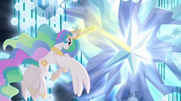 Princess Celestia using magic on tree S4E02