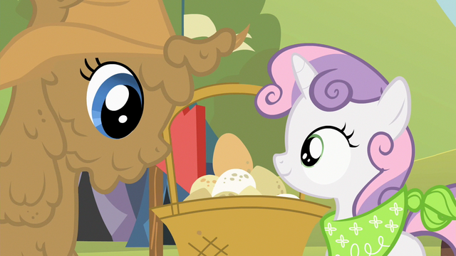 File:Sweetie Belle and mud covered Rarity look at eggs S2E05.png