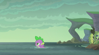 Spike swims toward Flame-cano Island S6E5
