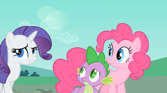 File:Rarity, Pinkie and Spike looking around S1E26.png