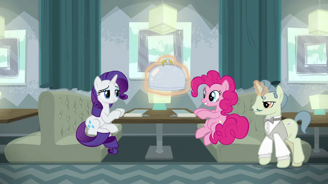 File:Rarity and Pinkie being served restaurant food S6E12.png