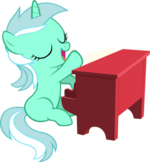 Lyra playing piano by artist-artpwny