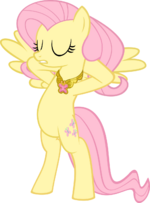 Fluttershy putting on her Necklace of Kindness