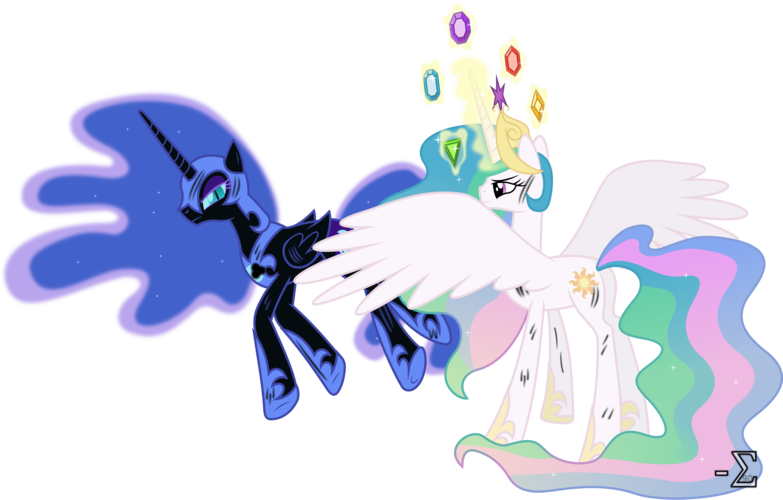 Image Princess Celestia And Nightmare Moon Battle Badly