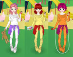The Cutie Mark Crusaders with their items