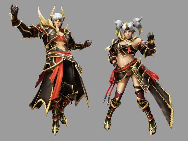 File:FrontierGen-Oniden G Armor (Blademaster) and Warabeden G Armor (Gunner) Render 2.jpg