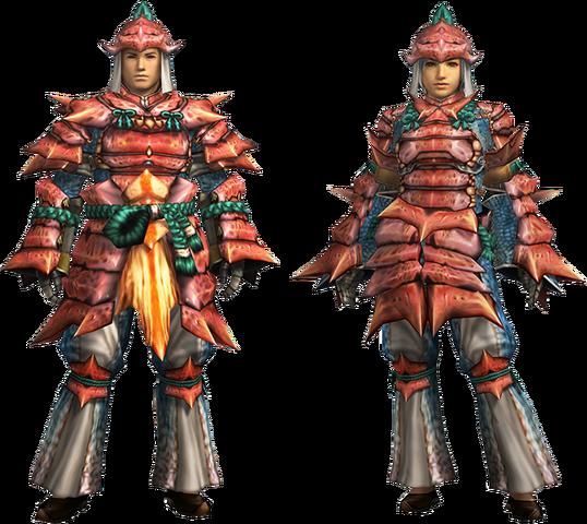 File:MH4U-Kut-Ku Armor (Blademaster) Render 001.png