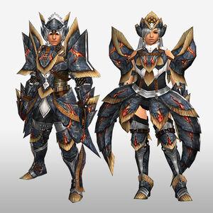 FrontierGen-Myuzu Armor (Blademaster) and Zere Armor (Gunner) (Front) Render