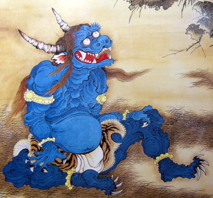 Japanese Oni Painting Oni painted on a folding