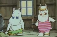 Moomintroll and Snorkmaiden Ready to Swim