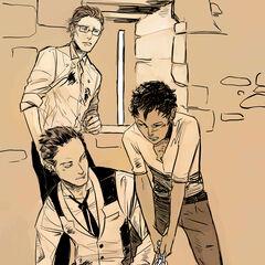 Luke, Magnus e Raphael em sua prisão