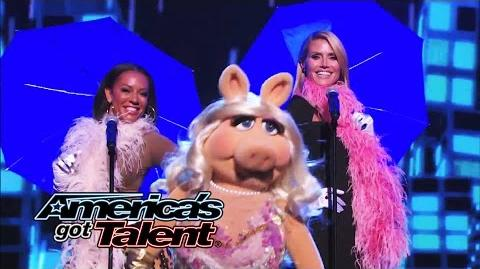 "Heidi Klum, Mel B and Miss Piggy Sing ""It's Raining Men"" - America's Got Talent 2014"