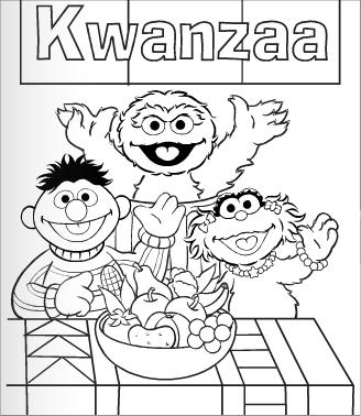 ernie oscar and zoe with fresh fruits that represent african idealism in the sesame street coloring book celebrate