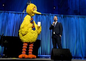 Big bird and john oliver at sesame workshop gala june 2 2016