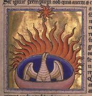 Phoenix detail from Aberdeen Bestiary