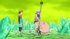 Hawk and Elizabeth trying to pull out the spear to fight.png
