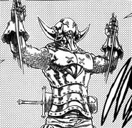 Golgius rising his hands