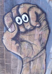 Oobi Grampu Eyes - Hand Puppet Street Art