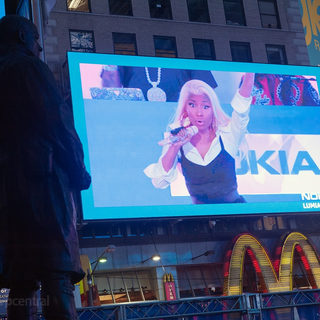 Nicki as she appears in the enormous screen.