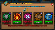 Secret Scroll of Wisdom menu