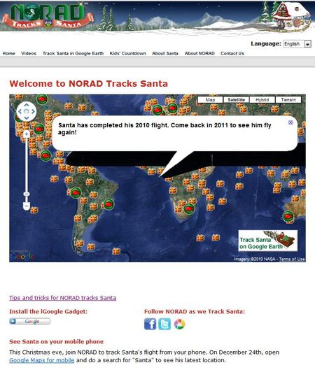NORAD Tracks Santa - Tracking Map - End of Journey