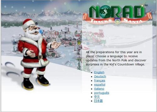 NORAD-Tracks-Santa-website-2011-Language Selection