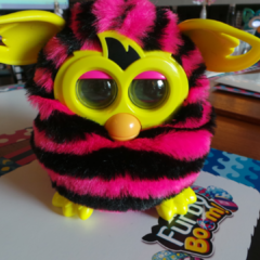 Pink and black stripes Furby Boom