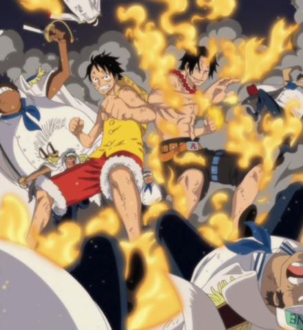 File:Ace and Luffy Fighting Against Marine Officers.png