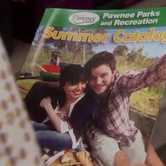 April and Andy in the Pawnee <i>Summer Catalog</i>