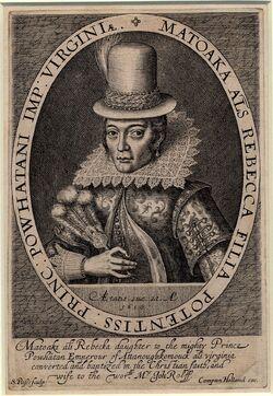 Pocahontas by Simon van de Passe 1616