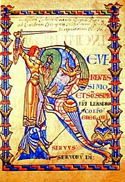 initial r moralia job Ms 168 f4v historiated initial 'r' depicting a knight fighting a dragon, burgundian school from moralia in job by pope gregory great artist:.