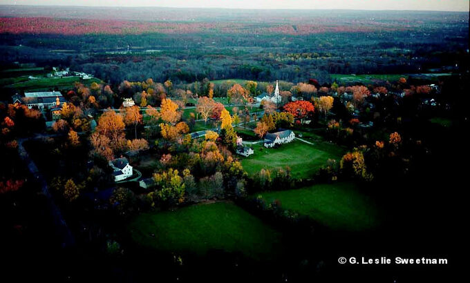 Woodstock aerial at twilight