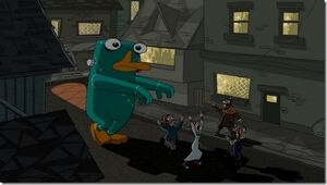 Platypus monster walking through town.jpg