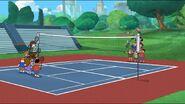 Playing badminton